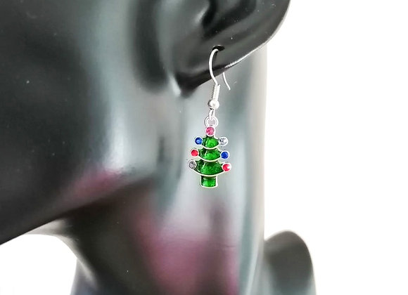 Christmas Earrings Kit - Green Tree with Rhinestone