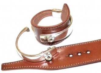 Bangle Metal Cuff and Leather Set