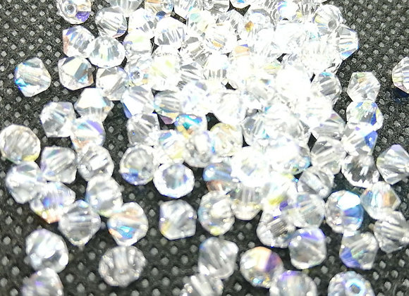 Czech Crystal Bicones 4mm Crystal AB Pack of 50