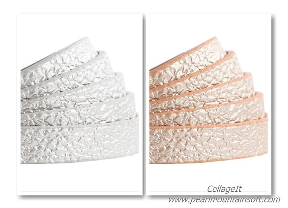 Flat Faux Leather Metallic 10mm - Silver or Rose Gold