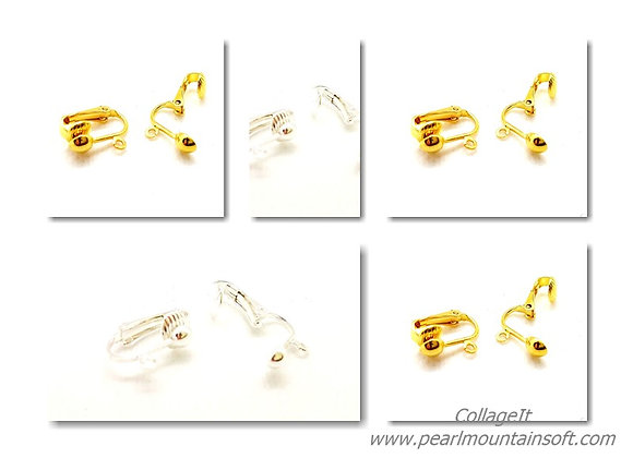 Clip on Earring Findings with Loop - Pack of 2 - Gold or Silver