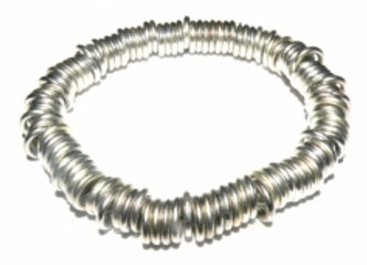 Bright Silver Ring Link Stretch Bracelet