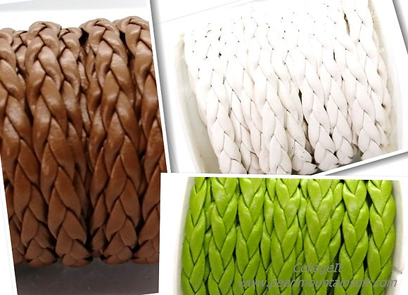 Braided Faux Leather 5x2mm Snake - Choice of Colours