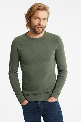 JV RAGLAN CREW COTTON MELANGE JERSEY GREEN- SLIM FIT
