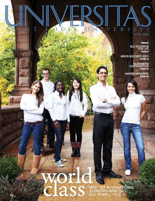 Fall 2009 Universitas magazine cover, six students standing beneath a building arch on campus