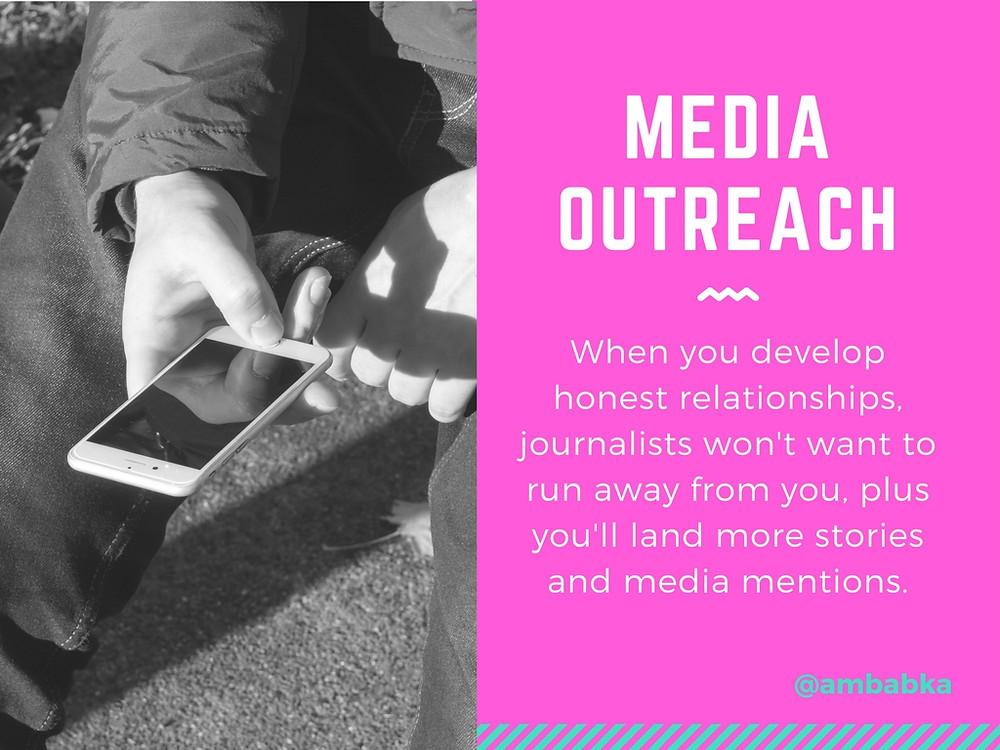 A presentation slide about media outreach