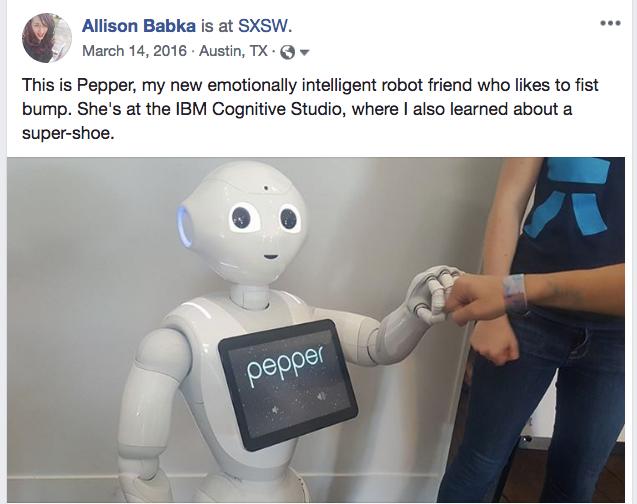 Screenshot of Allison Babka's Facebook post about Pepper, a white humanoid robot