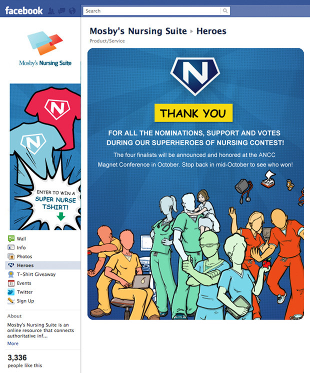 Mosby's thank you for nominating nurses for a Facebook contest