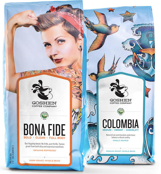Goshen Coffee Bags featuring a tattooed woman making a muscle
