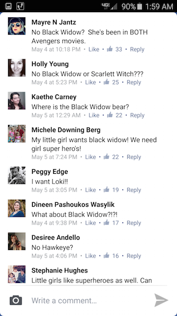 Screenshot of Facebook comments about Build-a-Bear