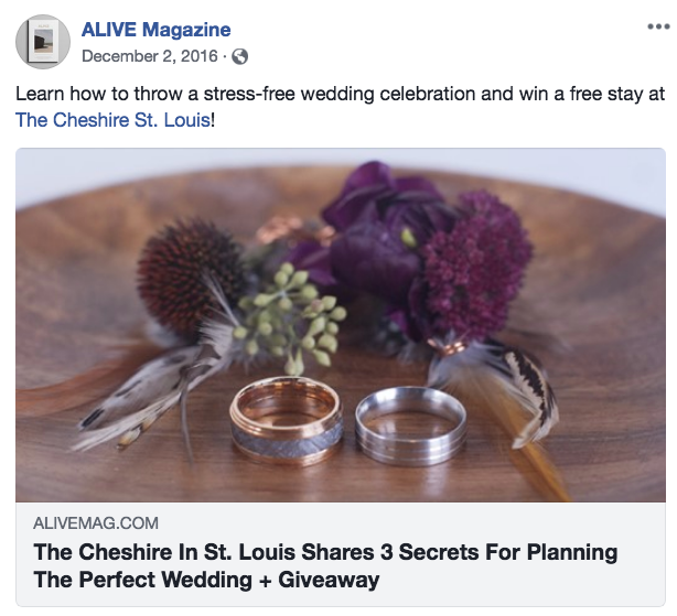 Alive Magazine Facebook post about weddings at The Cheshire, with the lead image featuring two rings and purple flowers on a table