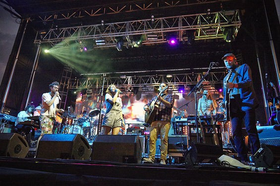 Edward Sharpe and the Magnetic Zeroes perform on stage at Loufest in a photo by Steve Truesdell for the Riverfront Times