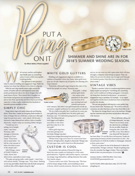 Ladue News spread with Allison Babka's story about engagement and wedding rings
