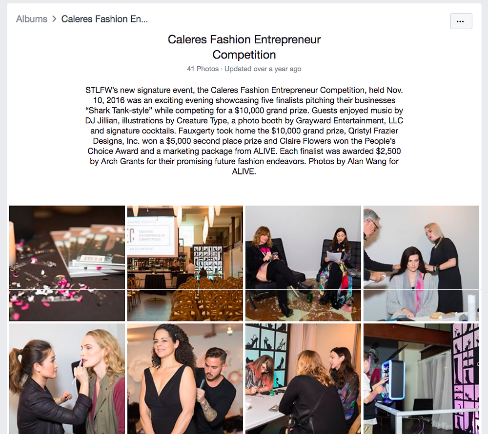 Screenshot of a Facebook album of photos of the Caleres Fashion Entrepreneur Competition, shot by Alan Wang for Alive Magazine