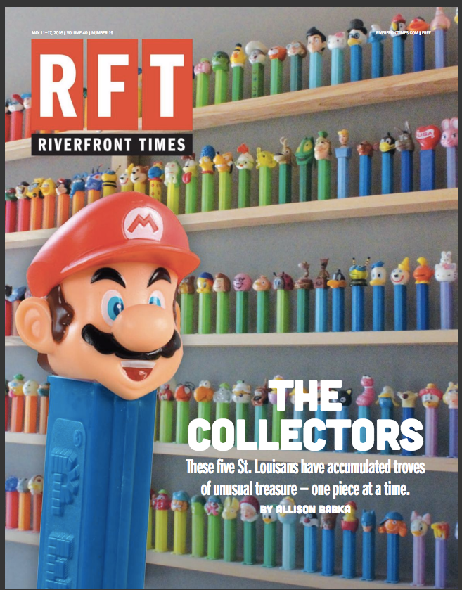 Super Mario and other Pez dispensers on the cover of the Riverfront Times