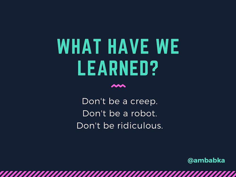 A presentation slide asking what we've learned