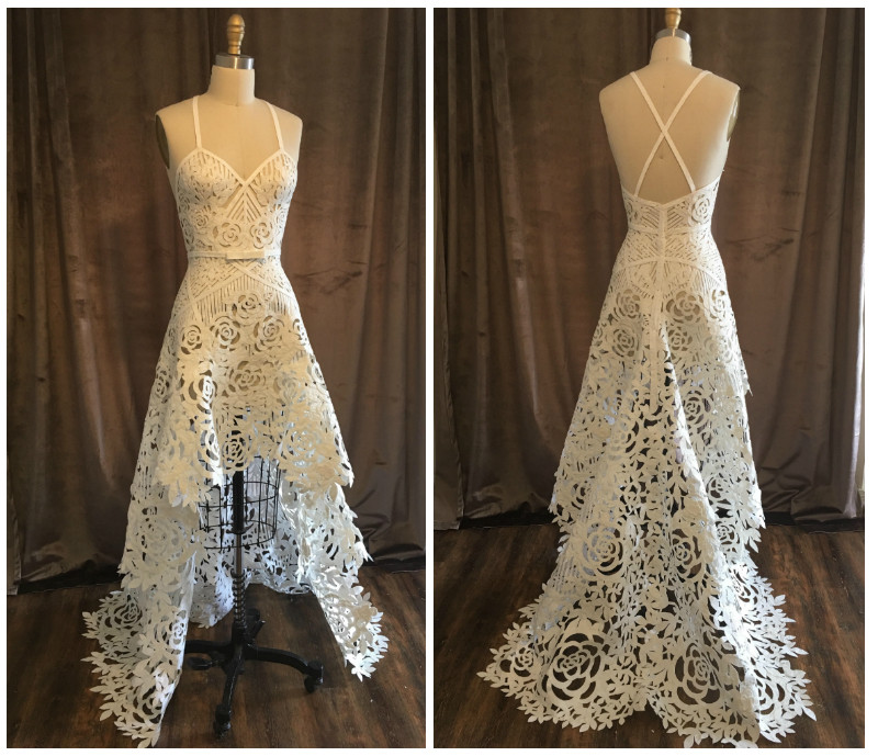 Front and back of a wedding dress that Ashley Ulicni created from toilet paper, as seen in the Riverfront Times