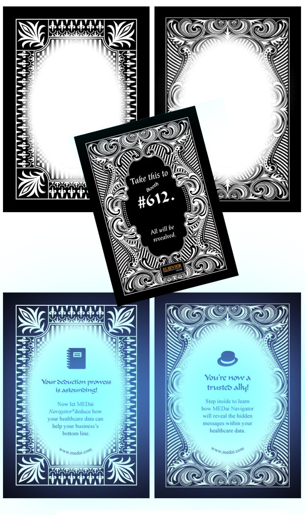 Five cards in black and white instructing the reader to solve a mystery