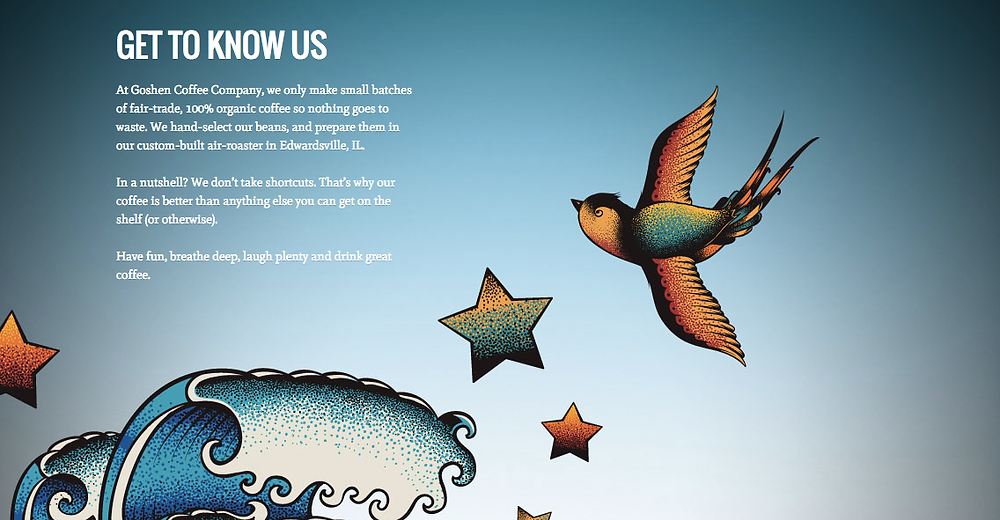 Goshen Coffee website with illustrated birds and ocean waves