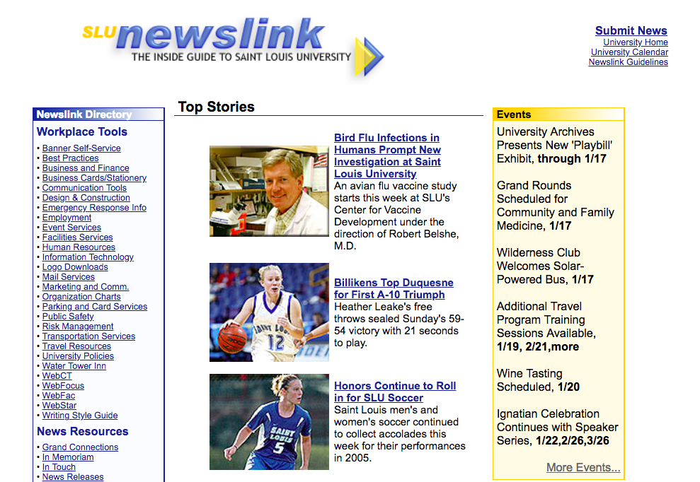 Saint Louis University Newslink homepage