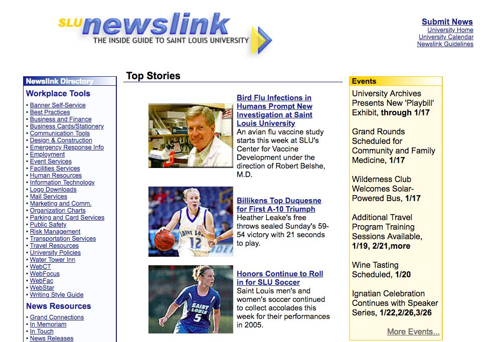 Saint Louis University Newslink homepage