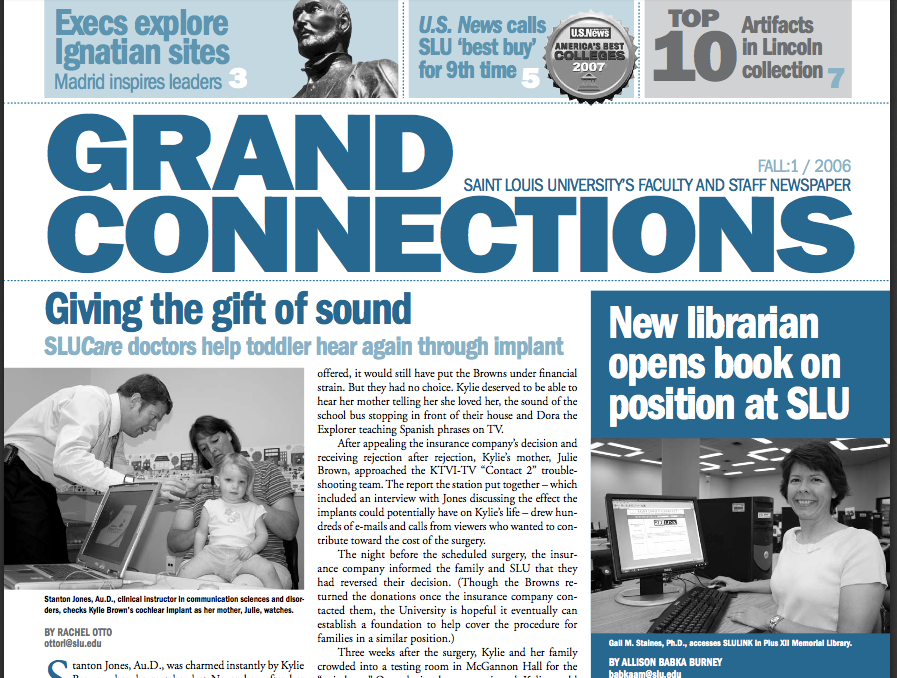 Saint Louis University Grand Connections newspaper, teal