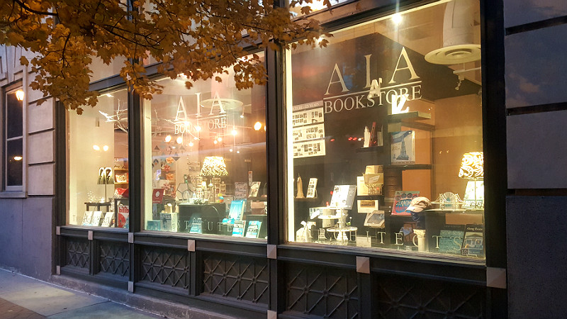 Window of the AIA St. Louis Bookstore