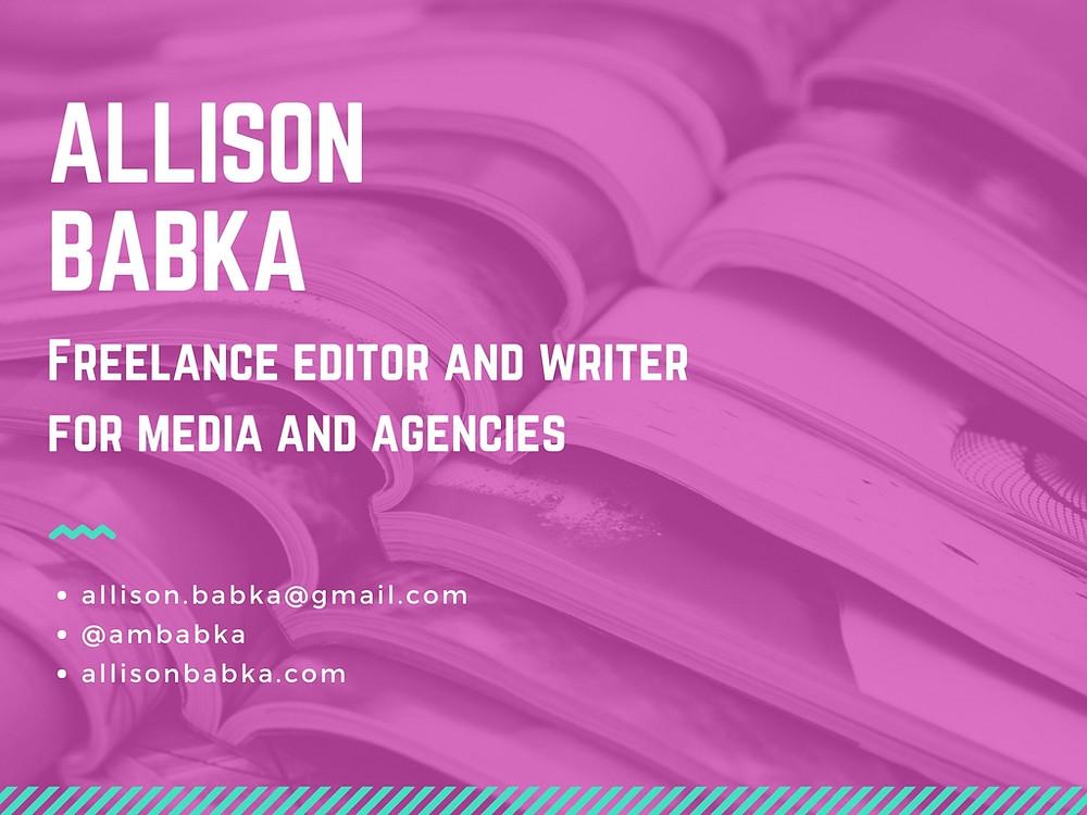 A presentation slide with contact information for Allison Babka