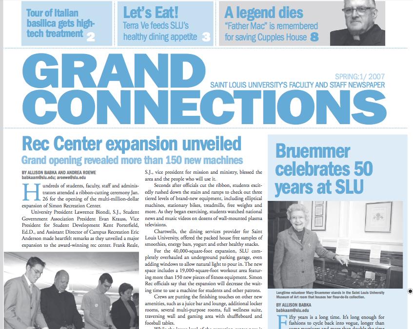 Saint Louis University Grand Connections newspaper, light blue