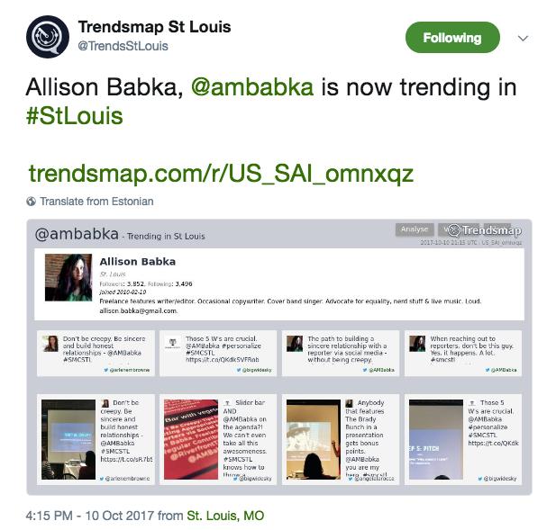 Screenshot of a tweet that says Allison Babka is trending in St. Louis