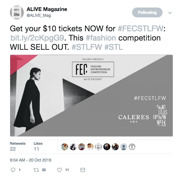 Screenshot of a tweet supporting the Caleres Fashion Entrepreneur Competition for Alive Magazine