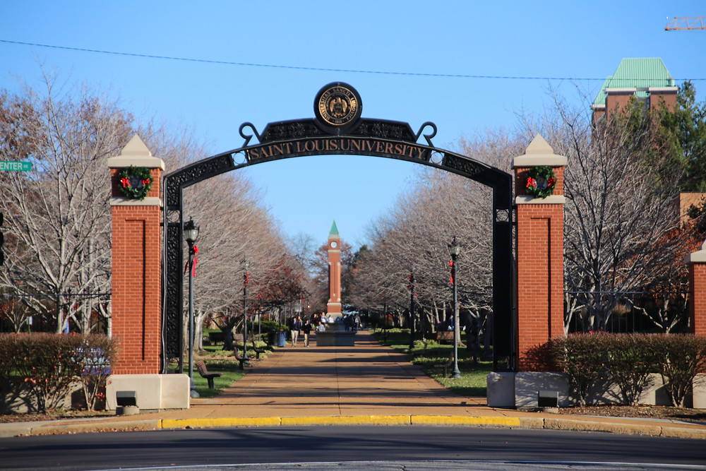 Saint Louis University campus arch facing the clock tower