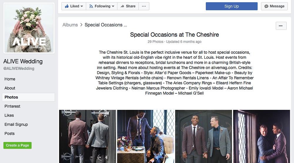Screenshot of a wedding photo album on Alive Wedding's Facebook page