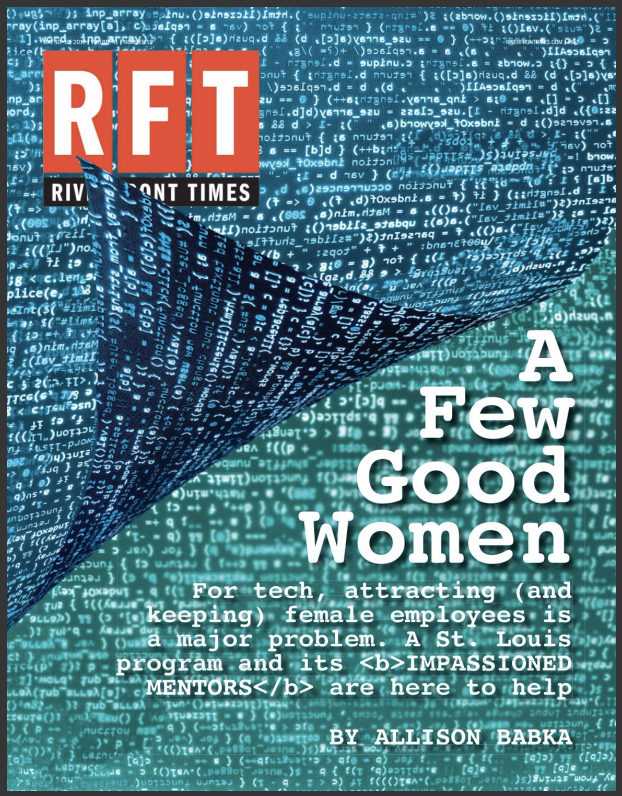 """Computer text with the headline """"A Few Good Women"""" on the cover of the Riverfront Times"""