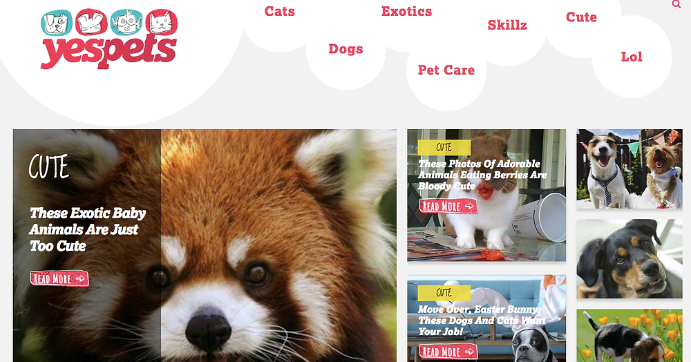 Screenshot of the YesPets homepage with photos and stories about red pandas, dogs, cats, bunnies and more