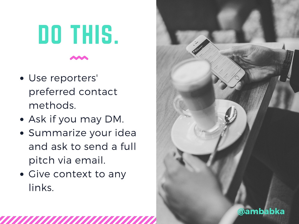 A presentation slide about how to contact reporters