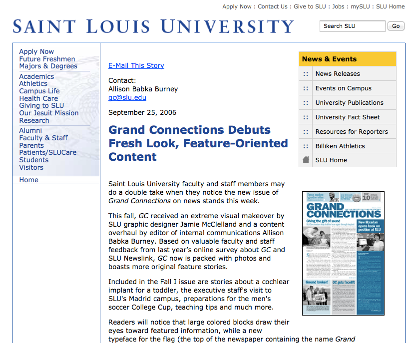 Saint Louis University Newslink story about Grand Connections
