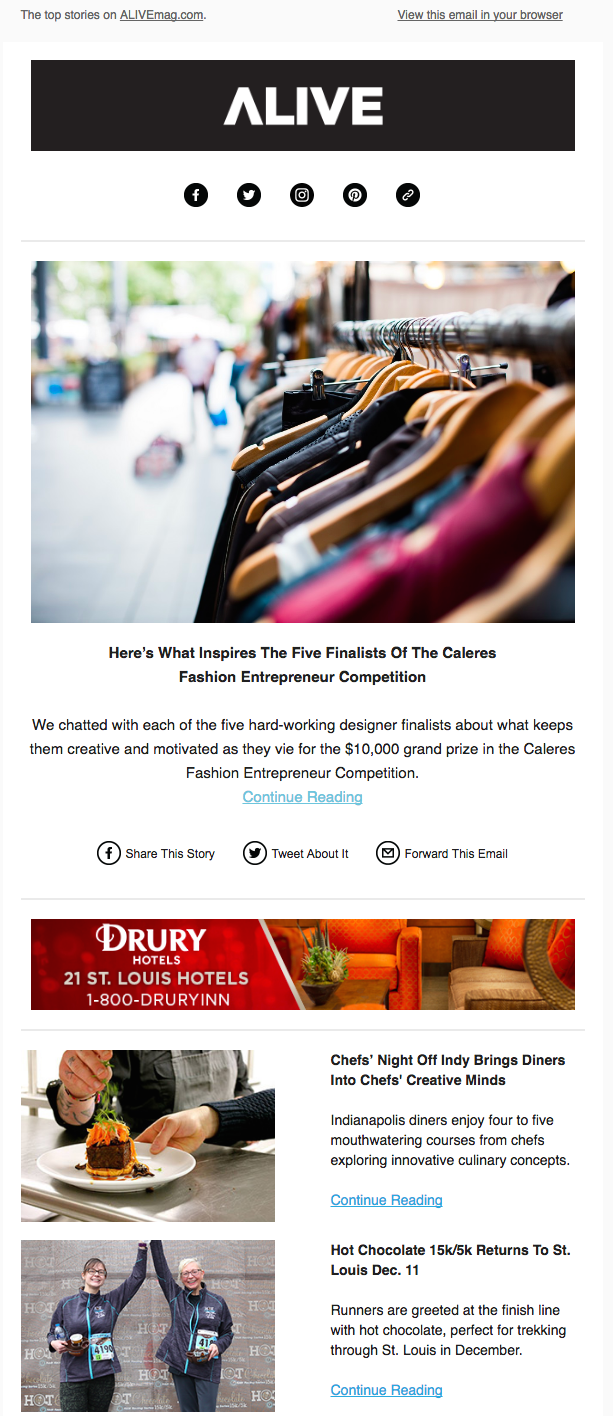 Screenshot of an email supporting the Caleres Fashion Entrepreneur Competition for Alive Magazine