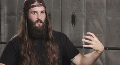 Nordic Thunder shows his air guitar technique in a screenshot from his Dr. Pepper commercial, as seen in the Riverfront Times