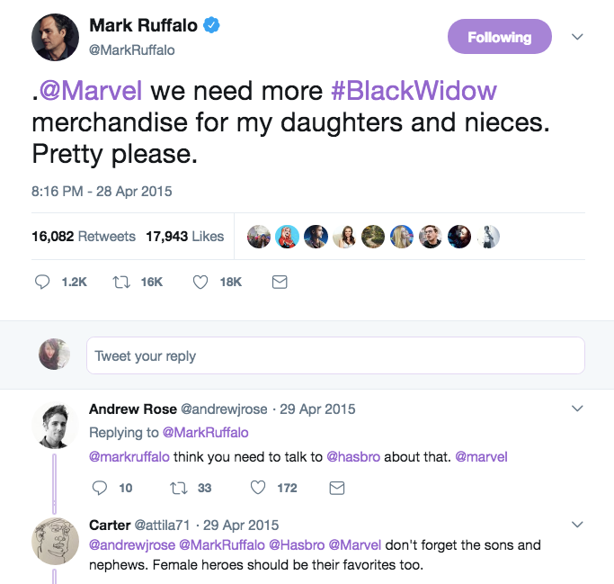 Screenshot of Mark Ruffalo's tweet about wanting Black Widow merchandise