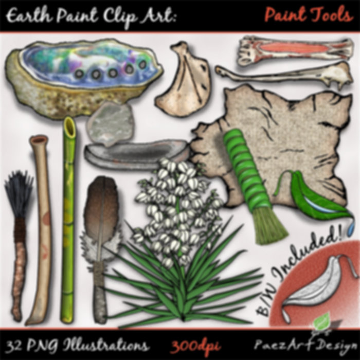 Earth Paint Clip Art: Paint Tools | PaezArtDesig Illustraton & Graphics | Digital Art Images for Education, Science, Social Studies, History, Art | Pigment Paint