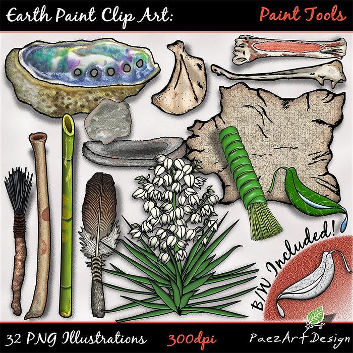 Earth Paint Clip Art: Paint Tools | PaezArtDesig Illustraton & Graphics | Digital Art Images for Education, Science, Social Studies, History, Art | Pigment Paint