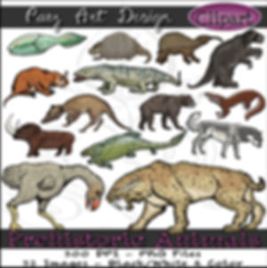 Prehistoric Era Clip Art Images | Animals: Mammoth, Saber Tooth Cat, Dunkleosteus, Horned Gopher & More | History & Science Graphics | PaezArtDesign Digital Arts