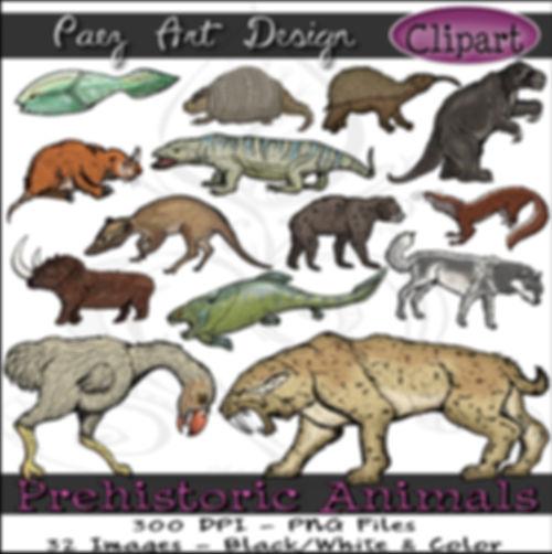 Prehistoric Era Clip Art Images | Animals: Mammoth, Saber Tooth Cat, Dunkleosteus, Horned Gopher & More | History & Science Graphics | PaezArtDesign Digital Arts