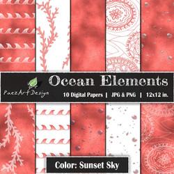 Ocean Elements: Sunset Sky {PaezArtDesign}