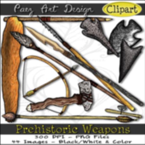 Prehistoric Era Clip Art Images | Weapons, Bows, Arrows, Clubs, Flint Knives, Atlatl & More | History & Science Graphics | PaezArtDesign Digital Arts