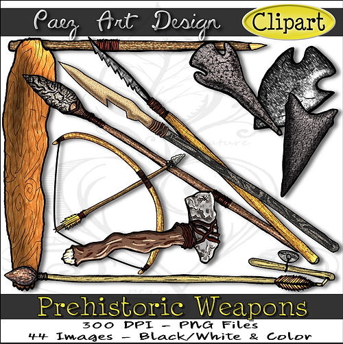 Prehistoric Era Clip Art Images | Weapons, Bows, Arrows, Clubs, Flint Knives, Atlatl & More | History & Science Graphics | PaezArtDesign Digital Arts