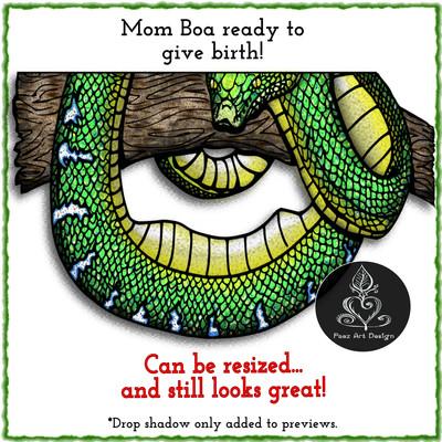 Emerald Tree Boa Live Birth Clip Art {PaezArtDesign}