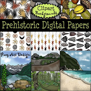Prehistoric Era Digital Papers {PaezArtDesign}