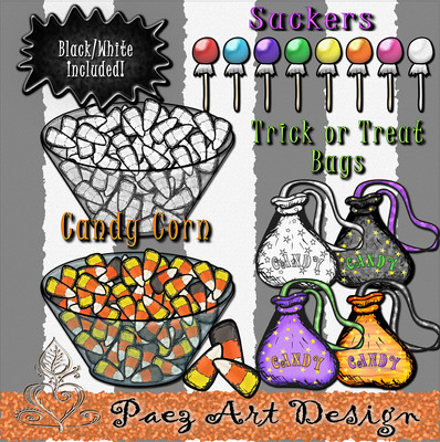 Halloween Candy Clip Art {PaezArtDesign}